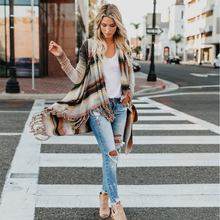 Knit Cardigan Women New Sweater For 2019 Winter Poncho Sweaters Tassel Ladies Striped Casual Womens