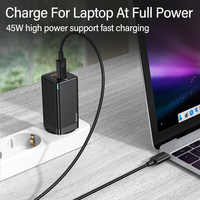 Baseus 45W / 65W GaN Charger PD USB C Charger Quick Charge 4.0 3.0 Dual USB Port Phone Charger ForiP ForXiaomi ForSamsung Laptop