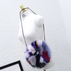 Image 4 - 高級デザイナーの女性のクラッチバッグと財布本物の毛皮の女性のハンドバッグ因果ラウンドメッセンジャーショルダーイブニングバッグ女性ギフト