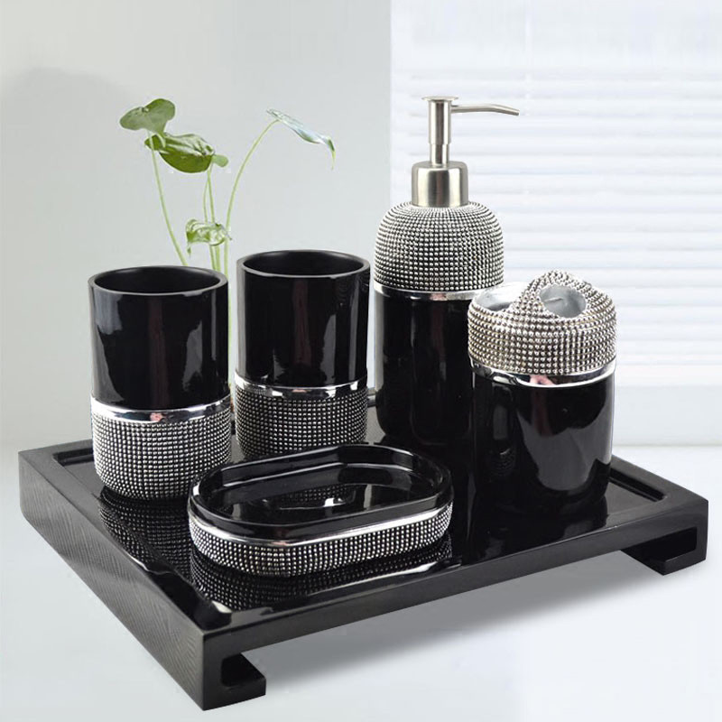 Bathroom Accessories Set Resin Soap Dispenser Toothbrush Holder Gargle Cup Wedding Gifts Black/White Finished 6 Pieces Set image