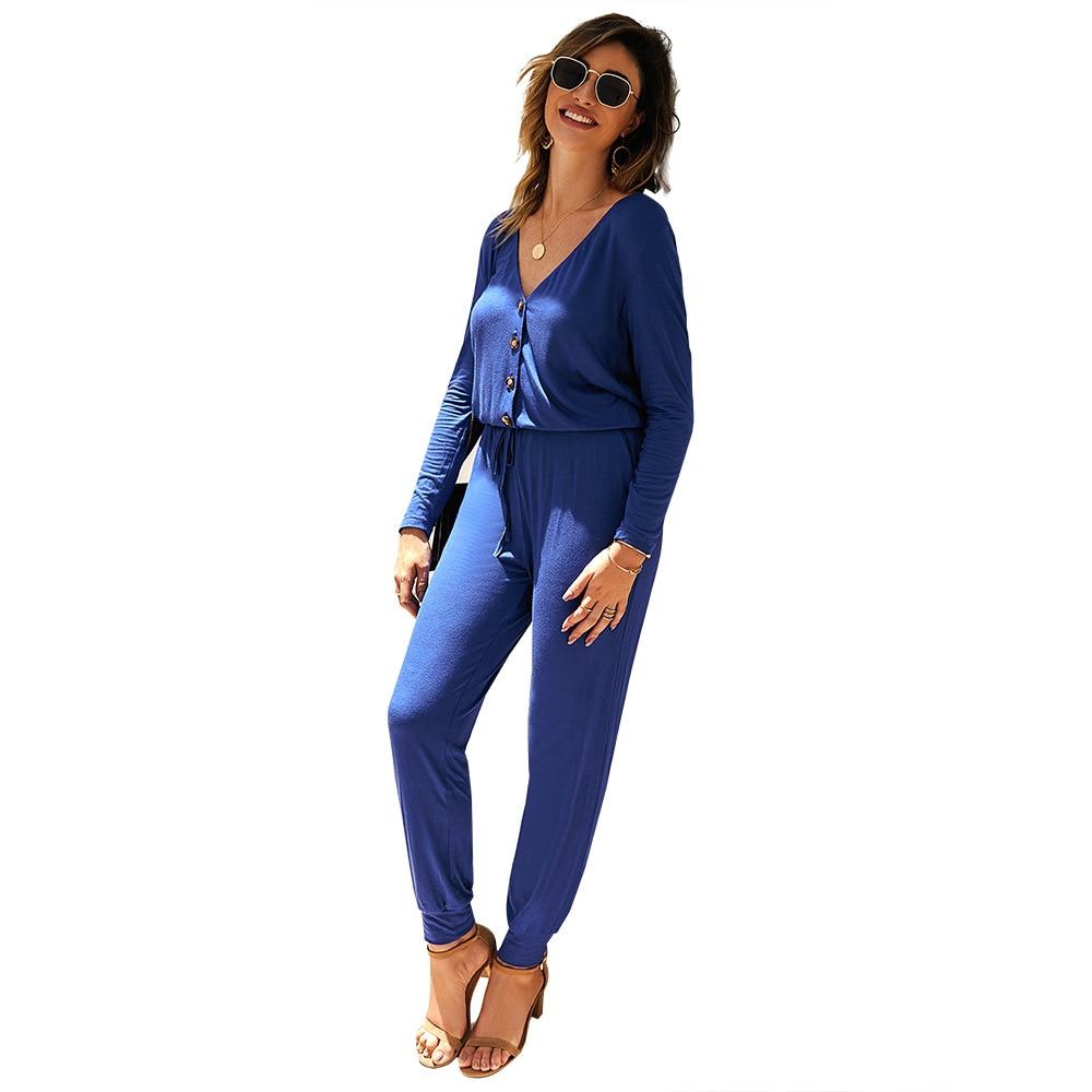 Ultimate SaleÒXUANSHOW Outfits Jumpsuit Long-Sleeve V-Neck-Button One-Piece Autumn Casual Fashion Women