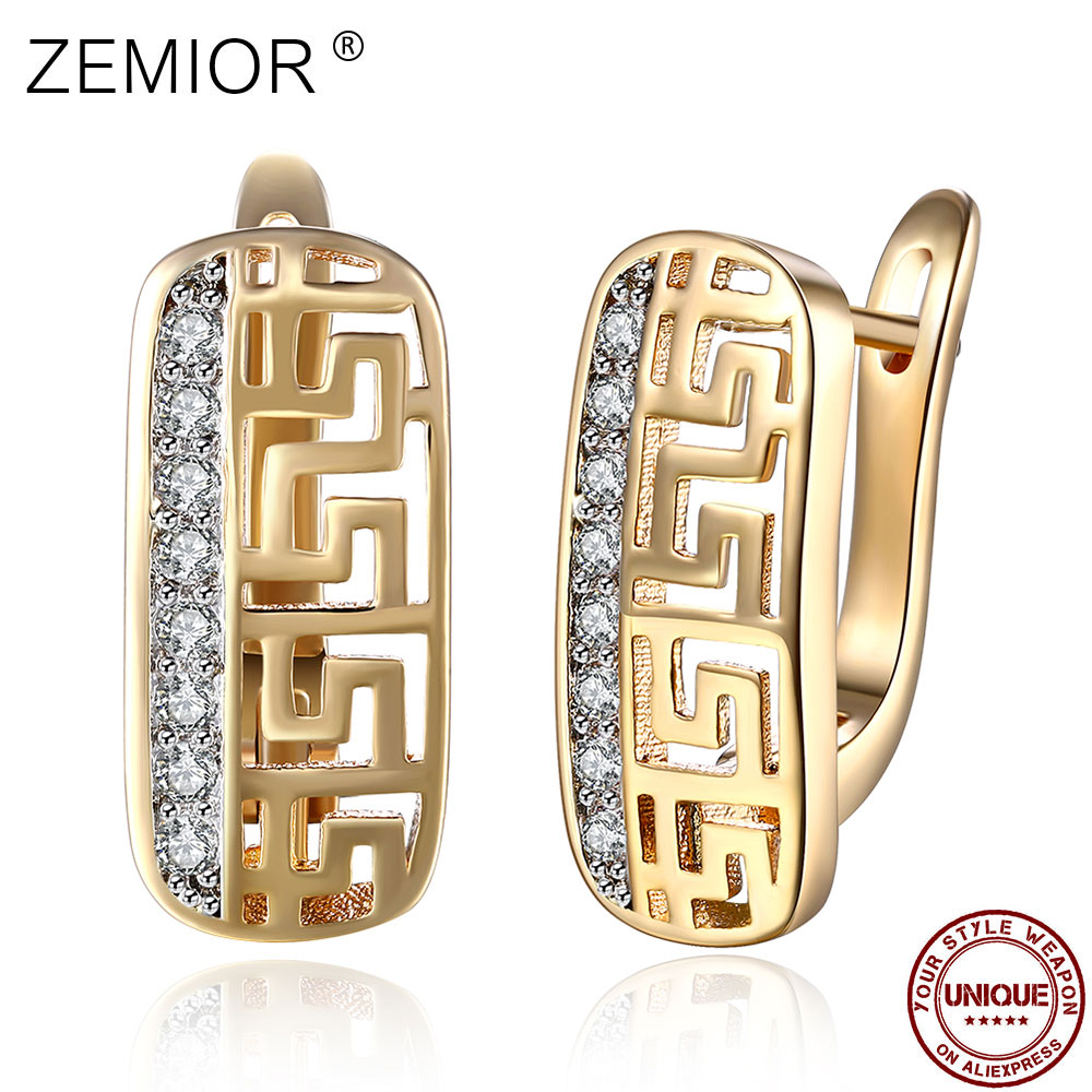 ZEMIOR Stud Earrings For Women Shining 5A+ Cubic Zirconia Geometric Champagne Gold Earring Female Fashion Jewelry Luxury Gift