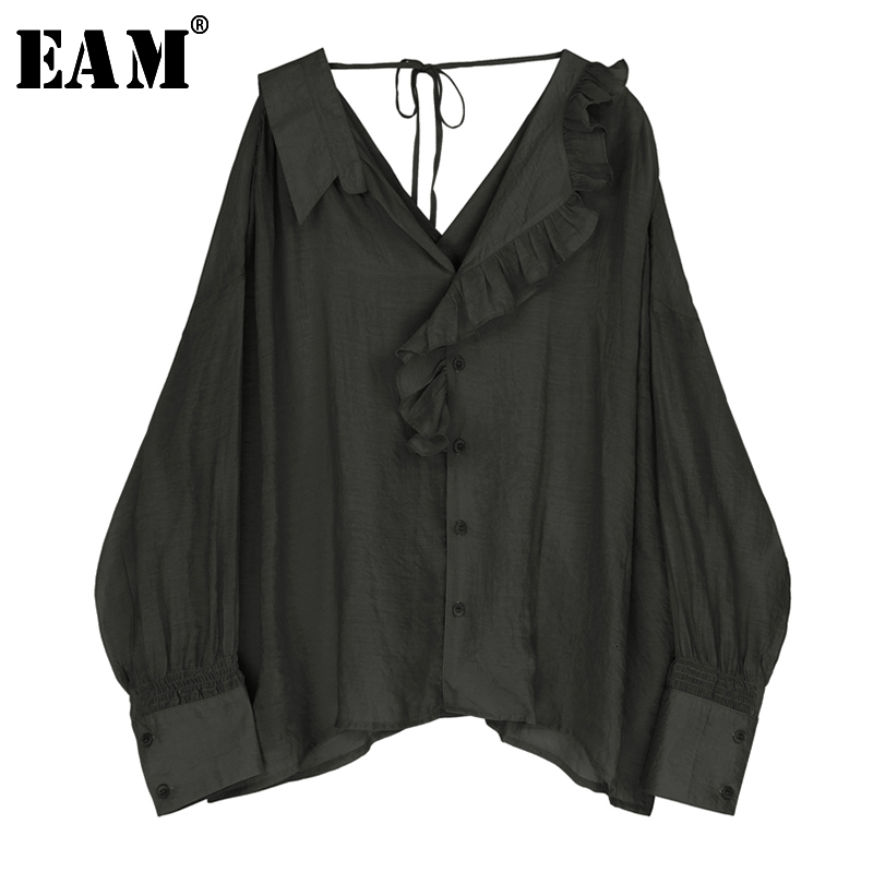 [EAM] Banbage Backless Big Size Casual Women Blouse New V-neck Long Sleeve Loose Fit Shirt Fashion Tide Spring Autumn 2020 JZ226