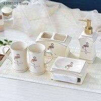 Ceramic bathroom supplies toothbrush holder household bathroom wash set high grade porcelain ice crack bathroom accessories