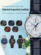 Correa de reloj de cuero genuino para hombre, Carrera5 correa de reloj de negocios, Galaxy Gear S3, 19mm, 20mm, 22mm, negro, azul, marrón, hebilla plegable