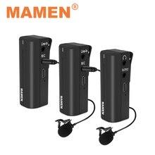 MAMEN 2.4GHz PRO bezprzewodowy mikrofon do nagrań Lavalier wbudowana bateria z nadajnik odbiornik na aparat telefon wywiad