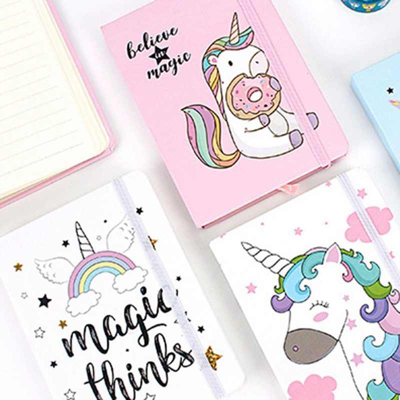 1pc Cartoon Unicorn Hard Cover Kawaii Pupils Notepad Notebook
