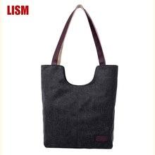 Outono e inverno simples cor sólida bolsa de lona saco de marca luxo alta qualidade bolsas grande capacidade algodão sacos de compras
