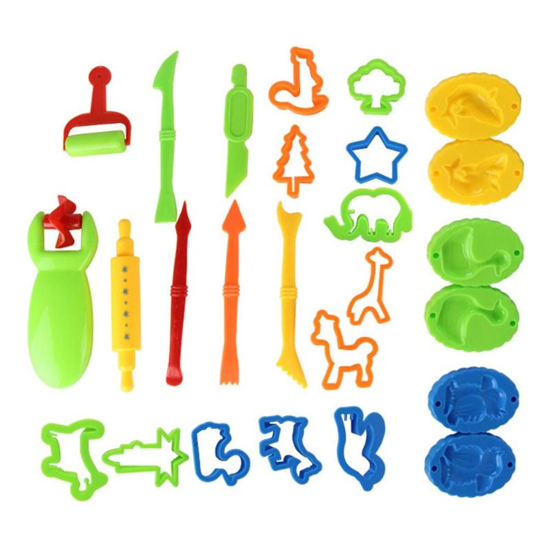 26pcs Muti-shape Plasticine Mold Kit Colour Mud Childrens Home-to-Home Toys Sand Castle Playdough Tools For Kids 200X190X60MM