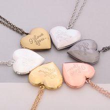 Venda quente original coração carta medalhão pingente colar feminino vintage aberto caixa de fotos jóias i love you love photo box colar