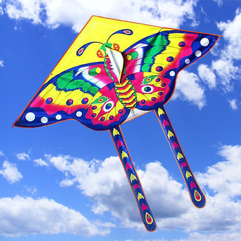 1 Pcs Outdoor Sports Butterfly Flying Kite with Winder Board String Children Kids Toy Game Colorful Kite Long Tail 90*50CM 1