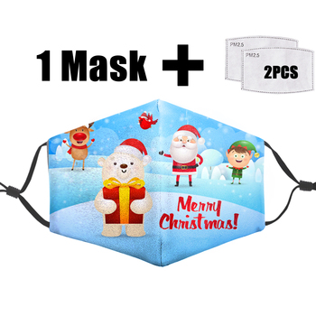 Christmas Merry Funny Print  Face Masks Reusable Protective PM2.5 Filter Mouth Mask Washable 3D Dust Bacteria Proof Flu Masks
