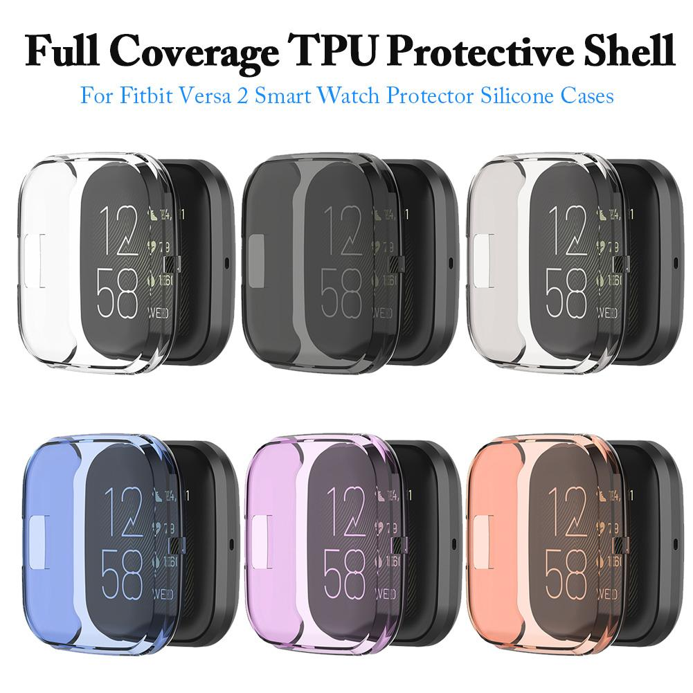 6 Colors Ultra-thin Soft TPU Protector Case Cover Clear Protective Shell For Fitbit Versa 2 Band Smart Watch Screen Protector
