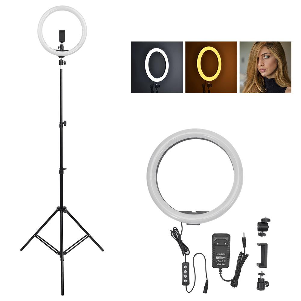 24W-36W Photography Dimmable LED Selfie Ring Light Youtube Video Live 5500k Photo Studio Light With Phone Holder No Plug Tripod