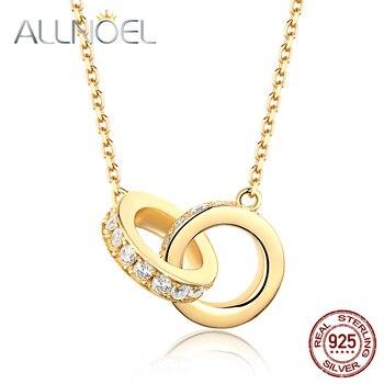 ALLNOEL 2019 sólida plata 925 Zircon diamante Collar para las mujeres joyas de piedras preciosas COLLAR COLGANTE collares regalo de boda