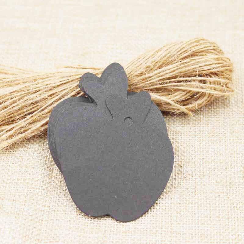 Mutli couleur pomme forme mignon blanc papier étiquette mariage cadeau étiquettes 500 pièces + 500 chanvre corde ficelle par lot personnalisé coût supplémentaire