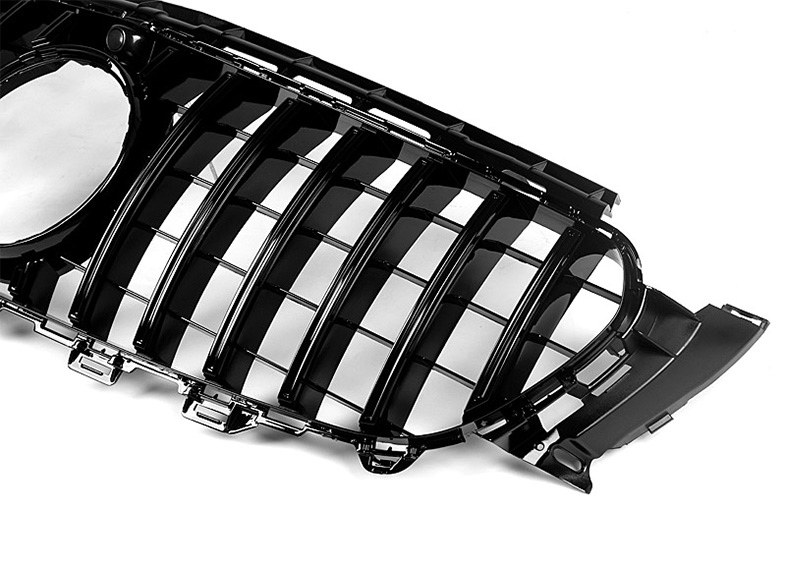 Fits For Mercedes W213 Front Grille grill GTS style ABS gloss black With Camera E class E200 E250 E300 E63 look grills 2016 2018 in Racing Grills from Automobiles Motorcycles