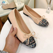 Flat Shoes Woman New Leather Weave Two Color Stitching Bow Ballet Fashion Round Mouth Shallow Mouth Work Shoes Flats Women Shoes old beijing cloth shoes stripe shallow mouth new style women flats shoes