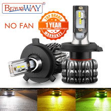BraveWAY H4 Led Headlight H7 LED Car Bulb H1 H3 H27 9005 9006 HB3 HB4 H11 LED Fog Lamp 12V Car Accessories White Yellow Green