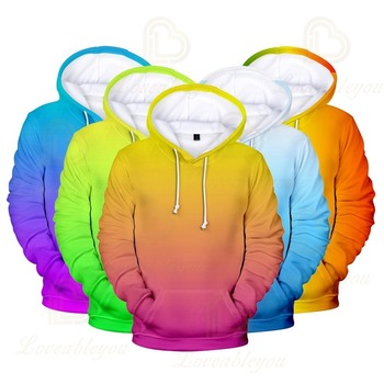 3D Hoodies Mens 2020 Men/Women Sweatshirts Colourful Gradient Solid Color Hooded Rainbow Top Colorful
