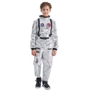 Image 3 - Eraspooky Boys Spaceman One piece Jumpsuit Silver Astronaut Cosplay Children Pilot Uniform Helmet Halloween Costume Kids Party