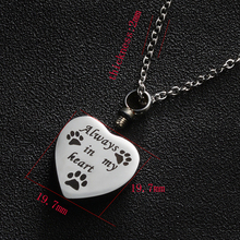 10pcs/lot Stainless Steel Heart Ash Pendant Necklace Memorial Jewelry Always in my heart Dog Cat Paw Cremation Urn Necklaces michael capuzzo cat caught my heart