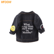 цена на VFOCHI Boy Girl Denim Jacket Autumn Fashion Jacket Children Clothing Baby Girls Clothes Outerwear Unisex Boys Girls Denim Jacket