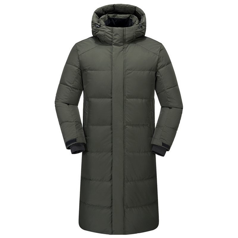 Mens Hooded Extra Long Duck Down Jackets Man Thick Winter Down Coats Male Fashion Knee Length Overcoat Warm Outerwear JK-515