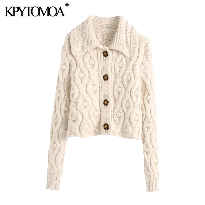 Kpytomoa女性2020ファッションポンポン丈ニットカーディガン長袖ボタンアップ女性の上着シックなtos