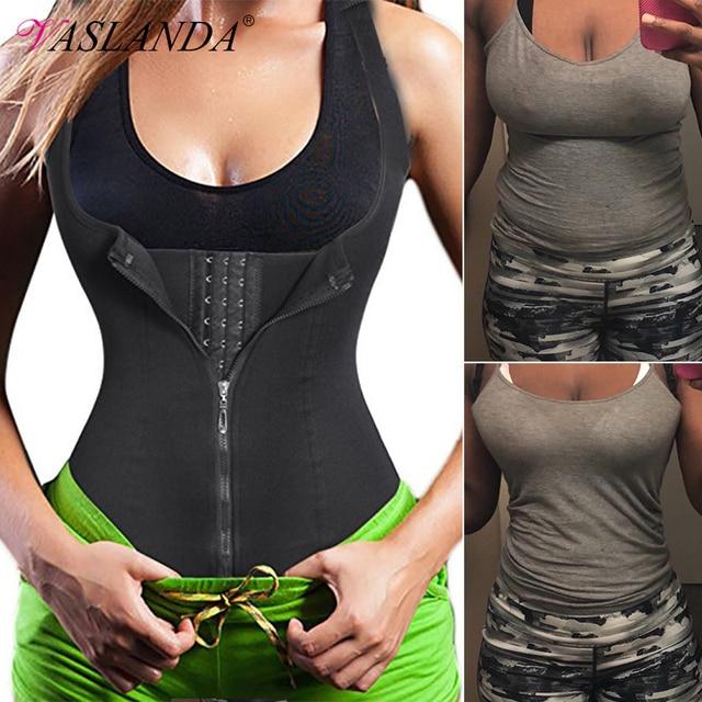 VASLANDA Women Waist Trainer Sauna Sweat Vest Slimming Tank Tops Tummy Control Body Shaper Workout Shapewear Underbust Corset