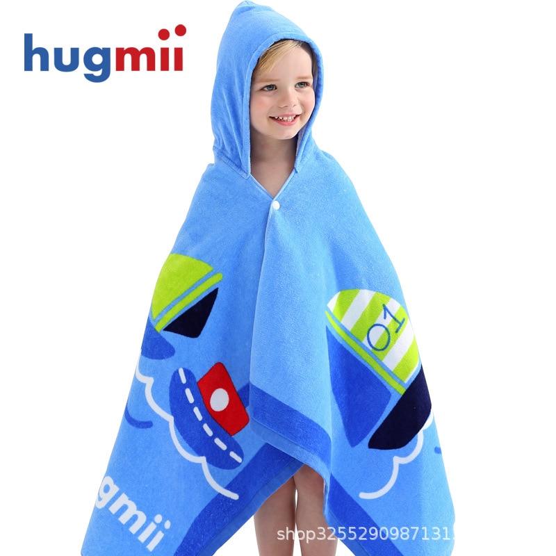 Hugmii Bath Towel For Children Cotton Water-Absorbing Soft And Comfortable Cartoon Hooded Cloak Baby Bath Bath Towel Bathrobe