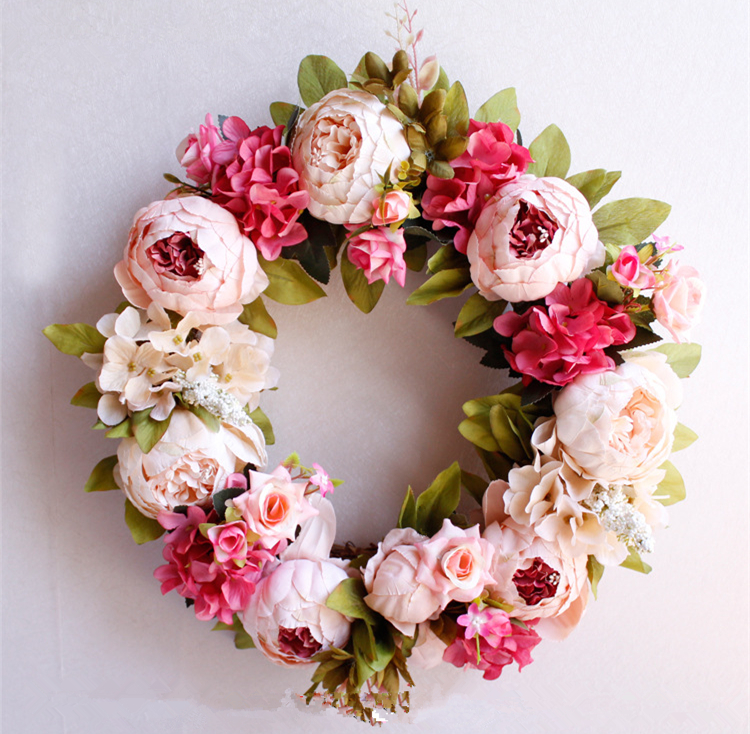 Wedding Door Wreath Artifical Florals Peony  Spring Summer Christmas Wreathes Decorations For Home  Peonies Farmhouse Decor