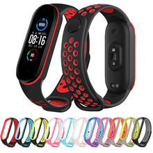 Two color Silicone Strap for Xiaomi Mi Band 3 4 5 6 Porous Anti sweat Sport Breathable Bracelet Strap For Miband 6 5 4 Wristband
