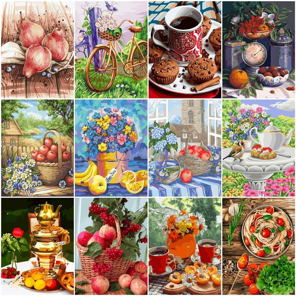HUACAN Picture By Numbers Fruit And Food Acrylic Drawing Canvas Wall Art Oil Painting By Number Flower DIY Home Decoration Gift