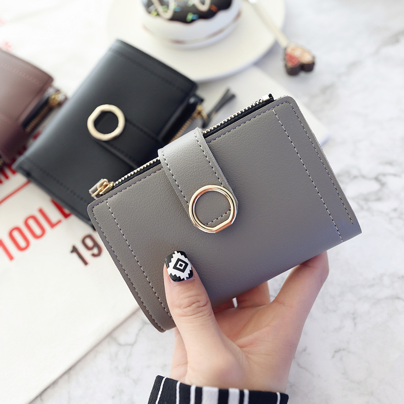 New Zipper Women's Wallet Small Cute Multi-functional Purse Short Clutch Ring Simple Desiger 2019 Fashion Student Clip Wallets