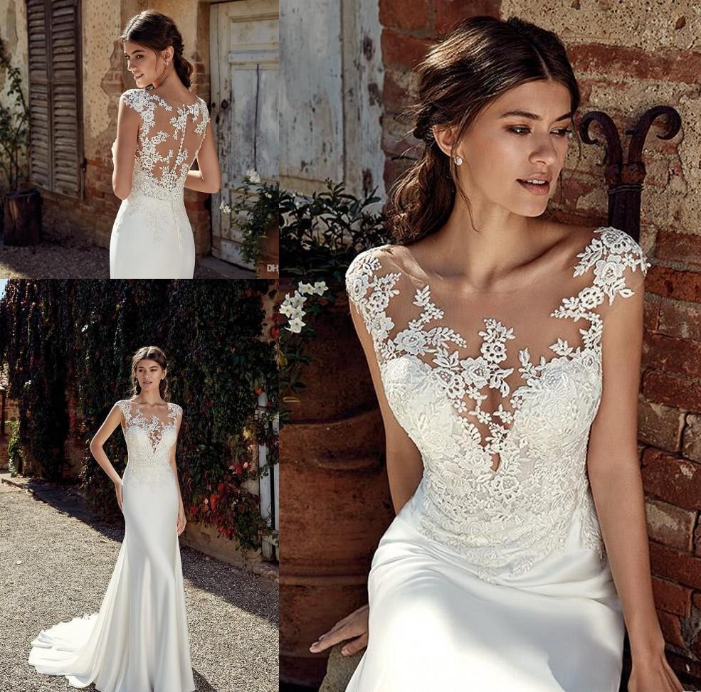 2020 New Style Mermaid Bohemia Wedding Dresses Cap Sleeves ...