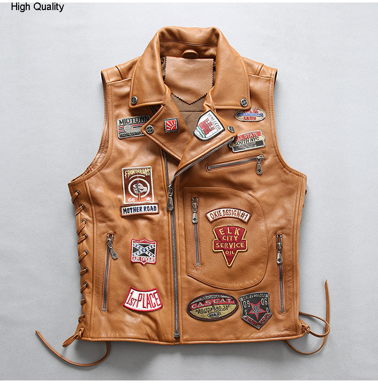 Fashion Leather Vest Cowhide Genuine Leather Waistcoat Man Turn-Down Collar Slim Fit Short Real Leather Vest