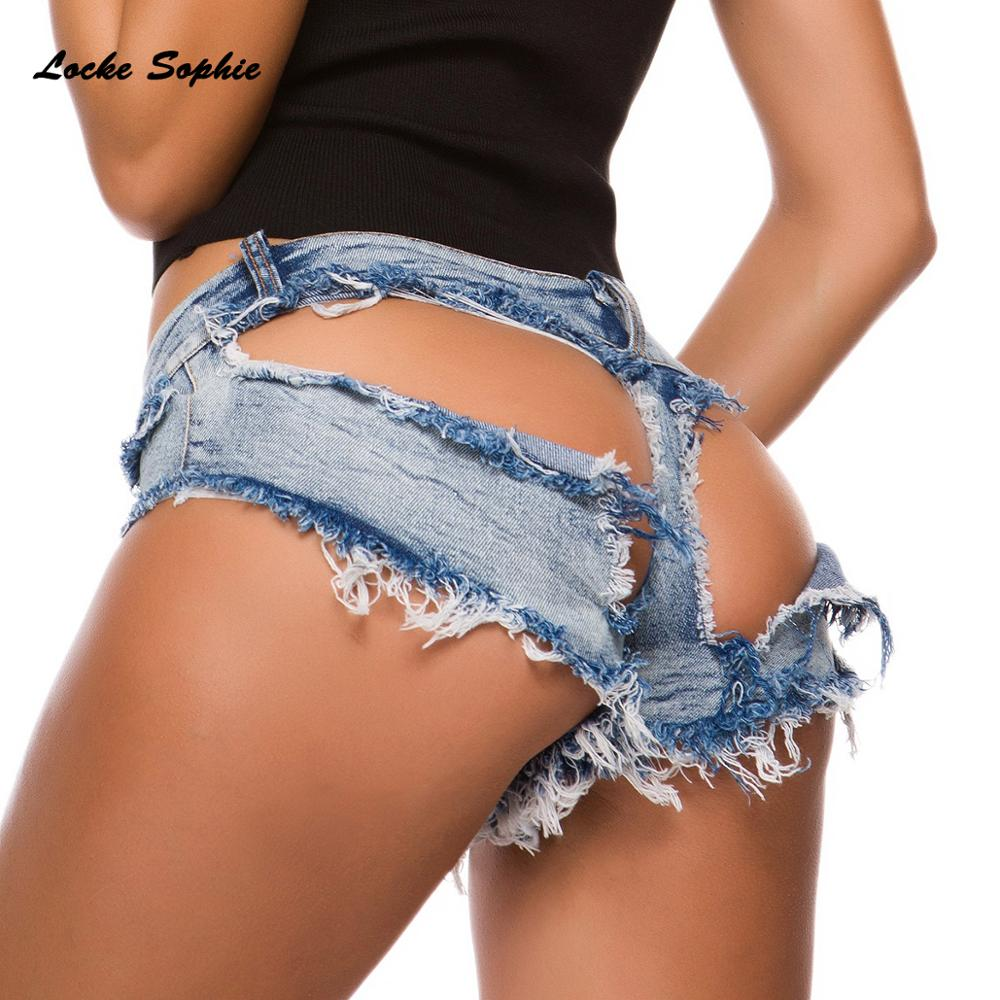 Low  Waist Sexy Womens Denim Shorts 2019 Summer Denim Cotton Splicing Ladies Broken Hole Skinny Nightclub Super Sexy Short Jeans
