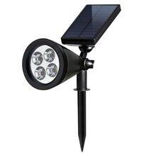 4 Светодиодный светильник на солнечной батарее для лужайки прожектор