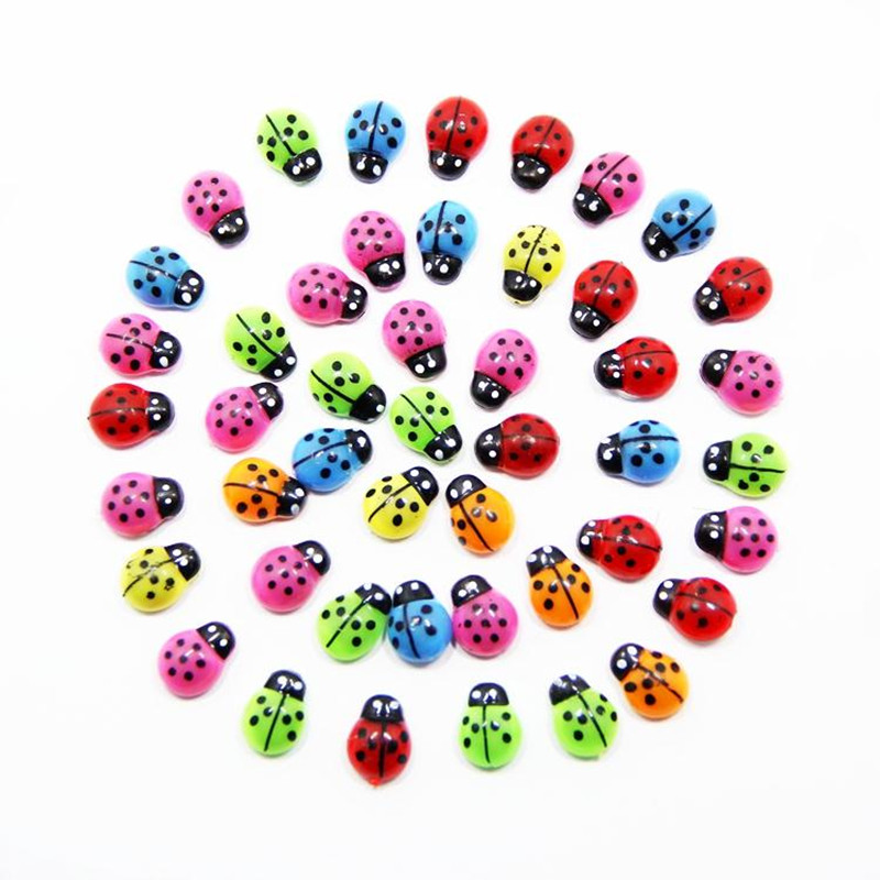 50 PCS Wooden Ladybird Ladybug Sticker Landscape DIY Craft Kids Home Party Decoration Accessories Crafts Beetle Meaty Ornaments