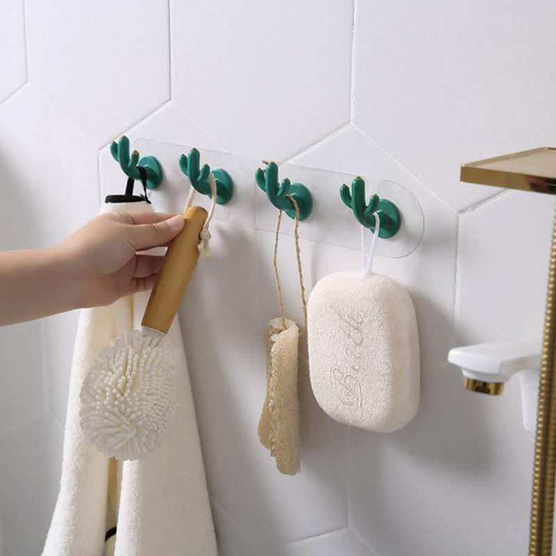 Cute Cactus Shaped Hooks Self Adhesive Clothing Display Racks Key Holder Wall Hook Coat Hanger Cap Room Decor Show Holder