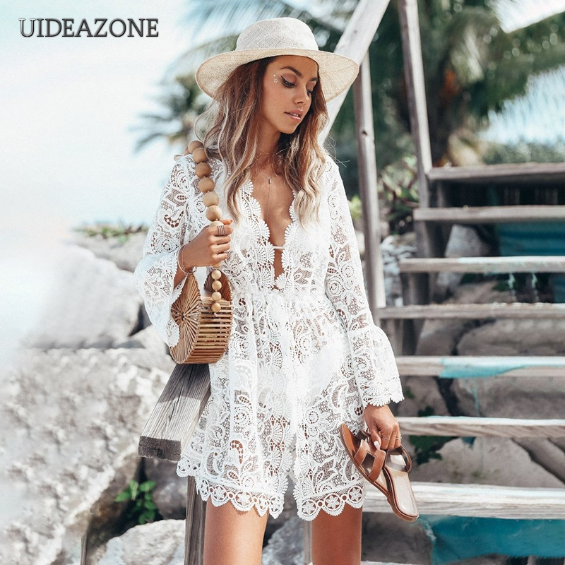 UIDEAZONE Lace Floral Crochet Hollow Out Women Bikini Cover Up Swimsuit Cover Beach Wear Long Blouse Tunic For Vocation