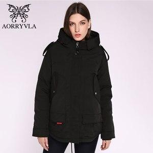Image 1 - AORRYVLA 2020 yeni bayan kış ceket kapşonlu rüzgar geçirmez askeri ceket büyük cep kadın kış giyim rahat sıcak kadın Parkas
