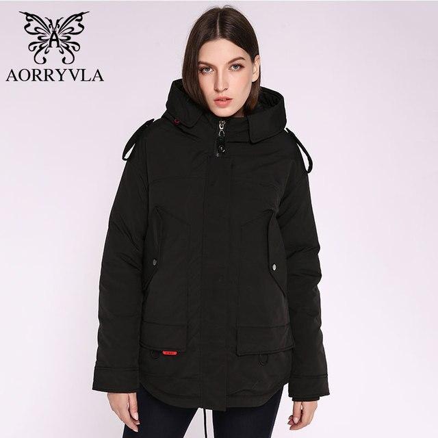 AORRYVLA 2020 yeni bayan kış ceket kapşonlu rüzgar geçirmez askeri ceket büyük cep kadın kış giyim rahat sıcak kadın Parkas