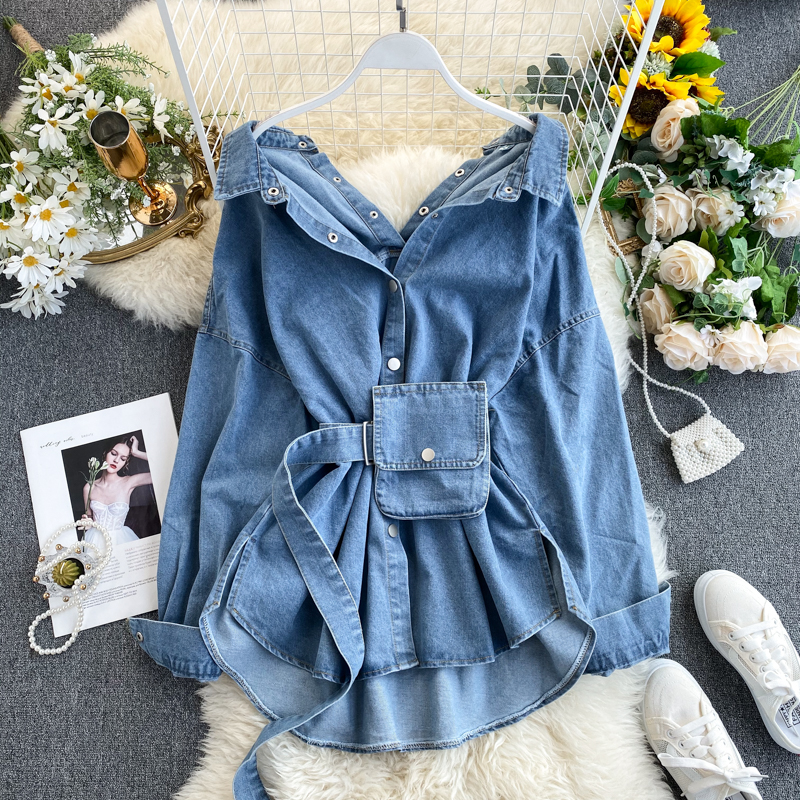 2020 Vintage Sashes Slim Waist Jeans Coat Autumn Winter Women Denim Jacket Korean Buttons Backless Long Outerwear