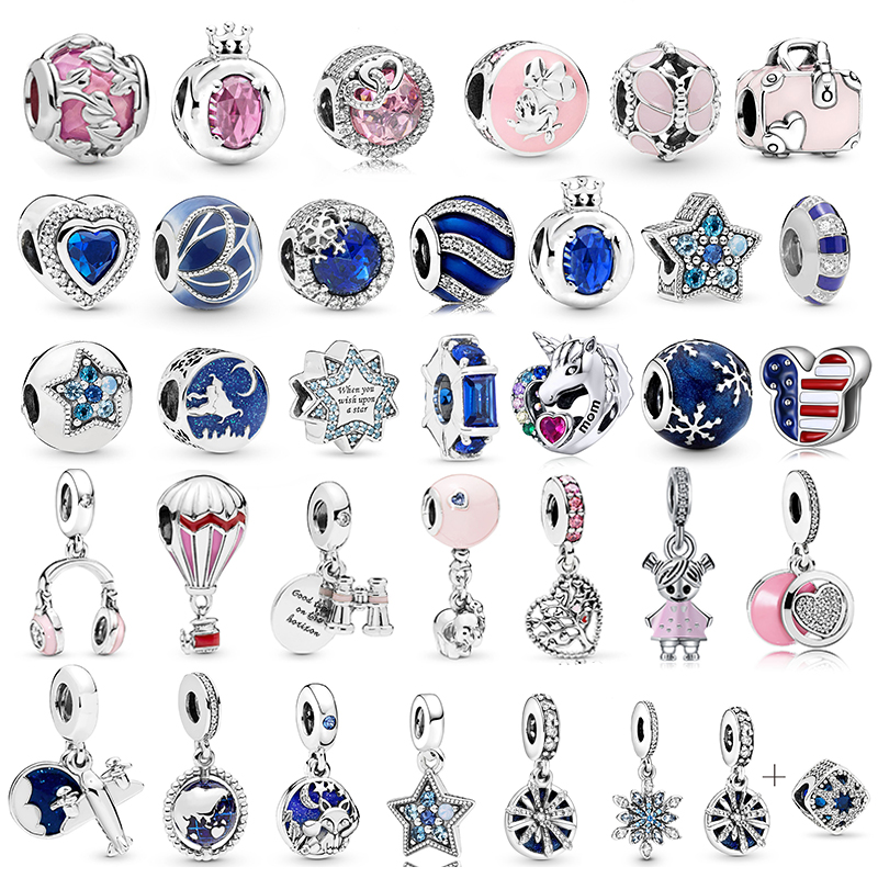 2Pcs/lot Blue & Pink Leaves Trunk Star Beads Pendant Charms Fit Pandora Bracelets Bangles Necklace For Women DIY Making Jewelry(China)