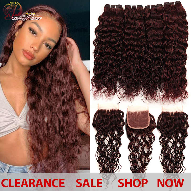 Brazilian Water Wave Hair Burgundy 4 Bundles With Closure Pinshair Pre-Colored Dark Red Human Hair Bundles With Closure Non-remy