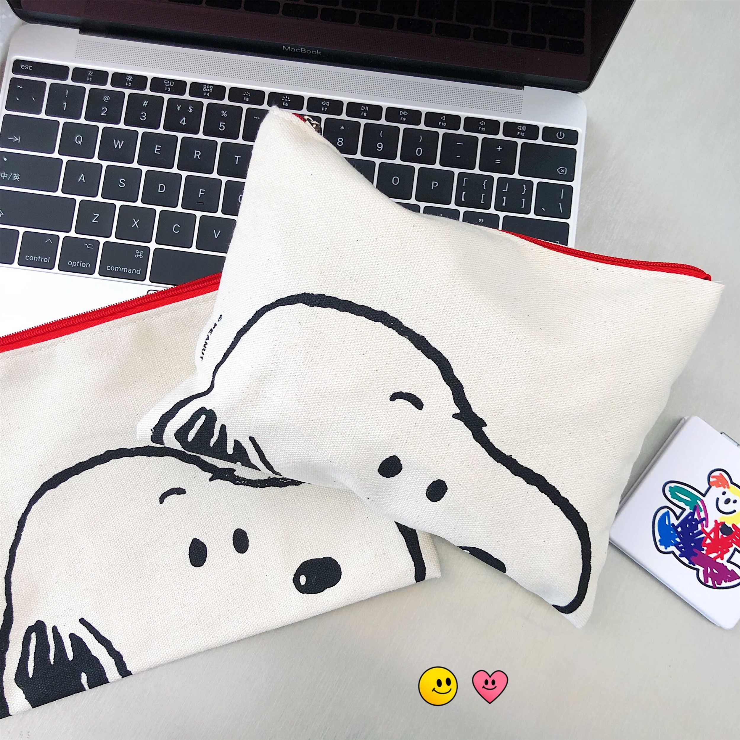 Snoopys Pen Bag Cosmetic Bag Cartoon Printed Canvas Handbag Cute Pig Student Pen Bag Personality Storage Bag School Supplies