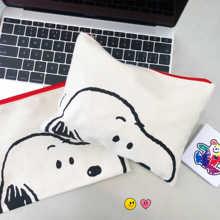 цены Snoopys Pen Bag Cosmetic Bag Cartoon Printed Canvas Handbag Cute Pig Student Pen Bag Personality Storage Bag School Supplies