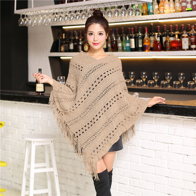 Irregular Ponchos And Capes Spring Women Loose Crochet Knitted Cape Coat Femme V-neck Shawl Pullover Sweater Jersey Mujer Tassel